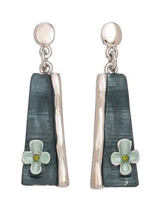 Enamel Earrings Clover Green