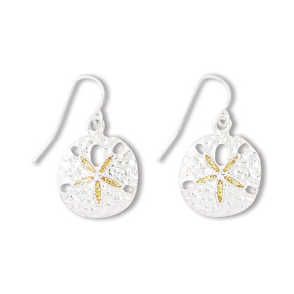 Silver Sand Dollar Earrings with Gold Glitter Inlay