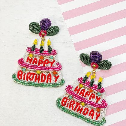 Happy Birthday Beaded Earrings