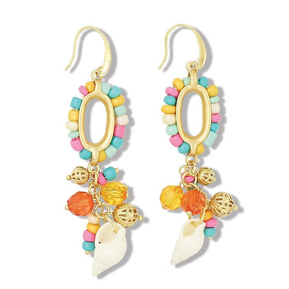 Multicolored Beaded with Conch Shell Earrings
