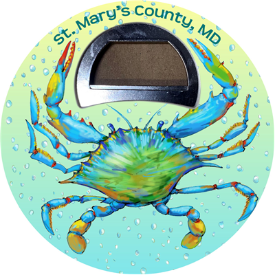 Watercolor Blue Crab magnetic bottle opener