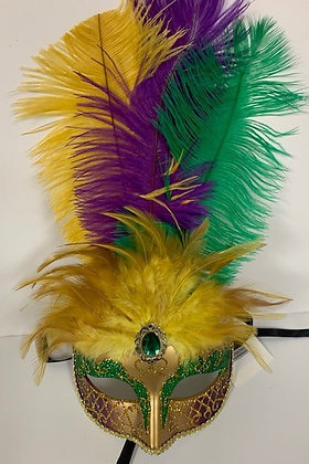 """Mardi Gras Mask with Feathers 12"""" x 7.5"""""""