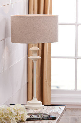 White Stick Lamp with Linen Drumm