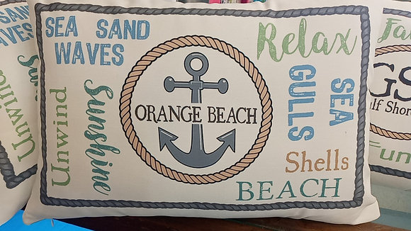 Orange Beach Anchor Pillow