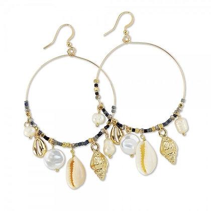 Pearls & Shells Hoop Earrings