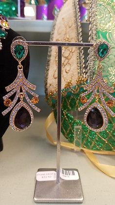 Mardi Gras Stone Drop Earrings