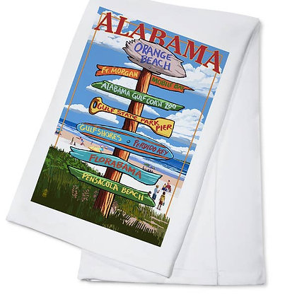 Alabama Orange Beach Sign Destination Towel