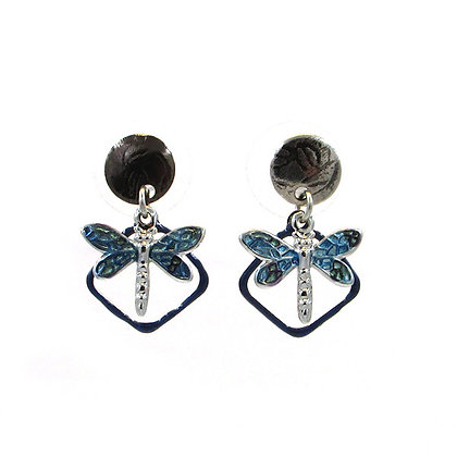 Silver and Blue Dragonfly on Post Earrings