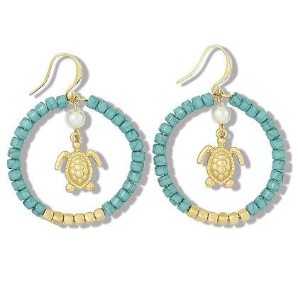 Turquoise Beaded Turtle Hoop Earrings