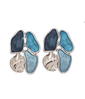 Enamel Earrings - Flower Blue