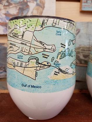 Wine Tumbler with Map of Orange Beach, AL