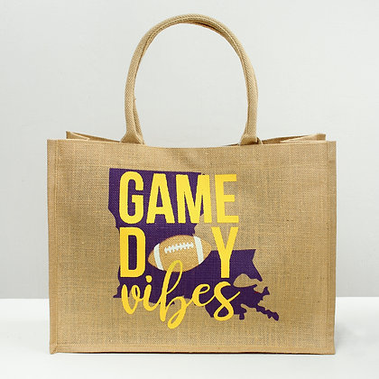 GameDay Vibes LSU Tote Bag - purple/gold 19x14x7.5