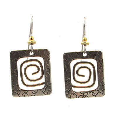 Textured Square with Coil Earrings