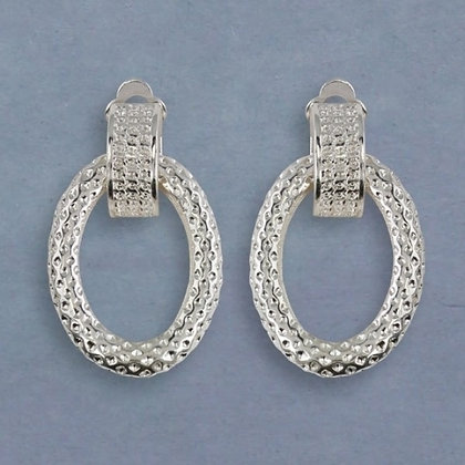 Silver Crystal Textured Door Knocker Clip Earrings