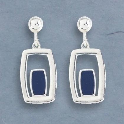 Silver Clip Earrings with Blue Enamel