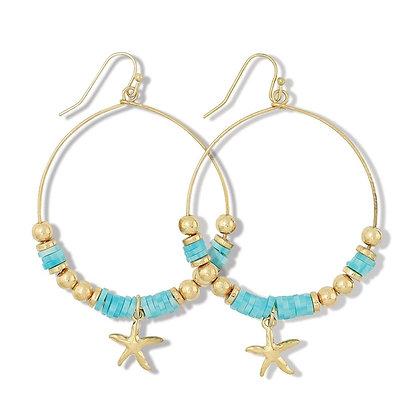Gold Starfish Beaded Hoops