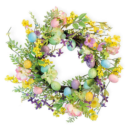 Pastel Flower and Egg Wreath