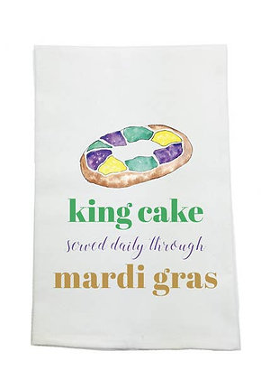 King Cake Served Daily Kitchen Towel