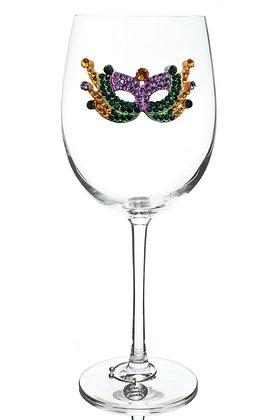 Mardi Gras Mask Jeweled Wine Glass