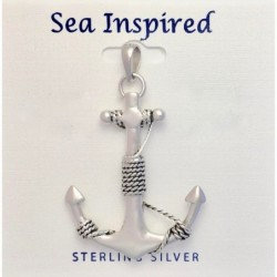 Large Anchor Pendant with Bail- Sterling Silver