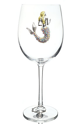 Aurora Borealis Mermaid Jeweled Wine Glass