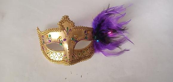 "Mardi Gras Gold Light Up Mask 6.5"" x 4"""