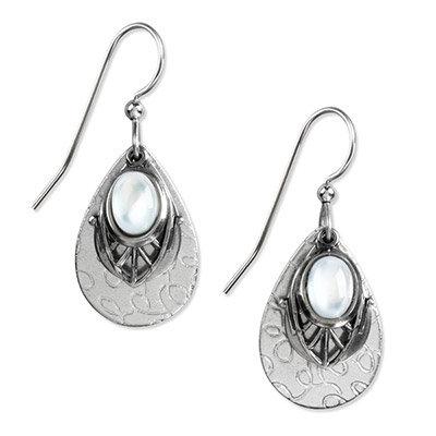 Silver Hammered Tear Drop Earrings