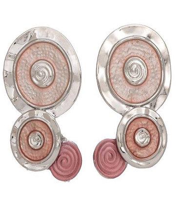 Enamel Earrings Circles Pink/Orange