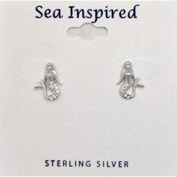 CZ Mermaid Post Earrings