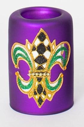 "Mardi Gras Glass Purple Votive 2.75"" x 4"""