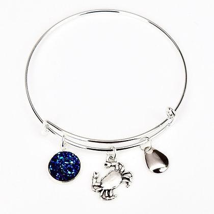 Blue Druzy Button Crab Bracelet