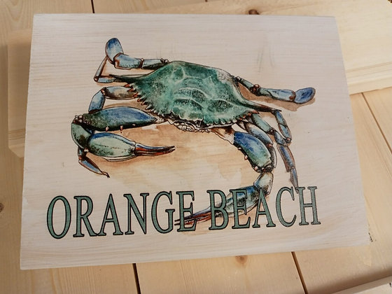 Orange Beach, AL - Wood Mini Art 5x7 Blue Crab