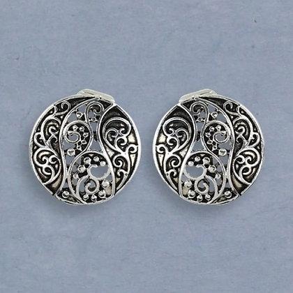 Silver Filigree Jet Swirl Disk Clip Earrings