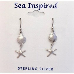 Scallop Shell and Star Fish Dangle Earrings