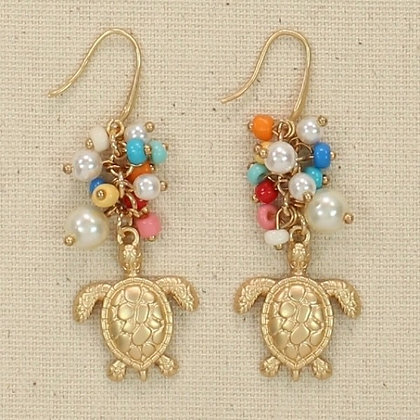 Multi Colored Beads with Turtle Earrings