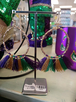Mardi Gras Beaded Gold Hoop Tassel Earring