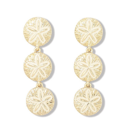 Gold sand dollar drops with white enamel inlay