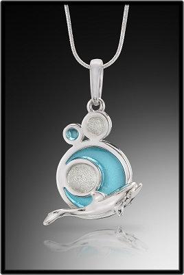 Circle Glass Dolphin Pendant