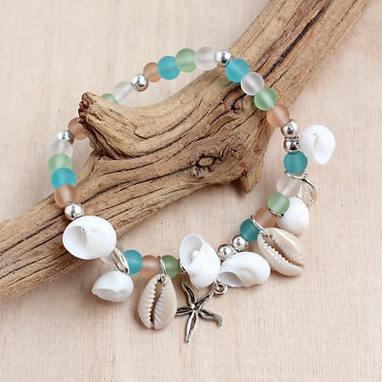 Alloy Crowrie and Sea Glass Stretch Bracelet