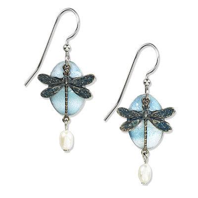 Silver Dragonfly Drop Earrings