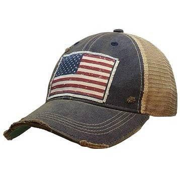 American Flag USA Distressed Trucker Cap