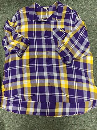 LSU Boyfriend Plaid Shirt