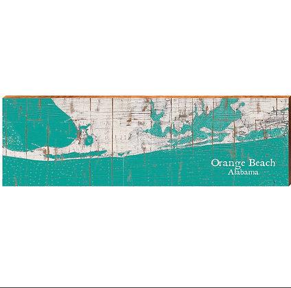 Orange Beach Map Shabby Teal Wood Sign