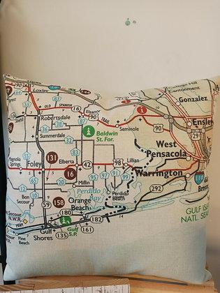 Perdido Beach Map Pillow