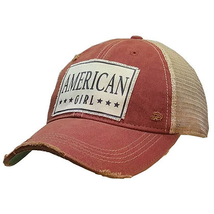 American Girl Distressed Trucker Cap