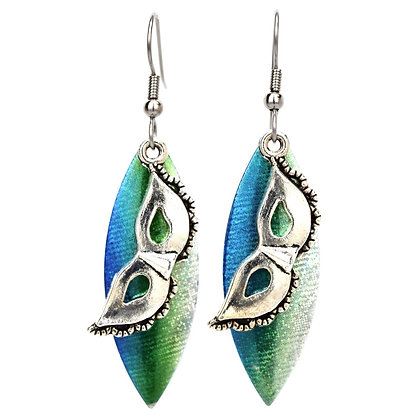 Emerald Pointy Lure Mask Earrings