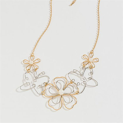 Open Flower Butterfly Mix Necklace