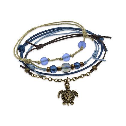Sea Turtle Bracelets Blue - Set of 4