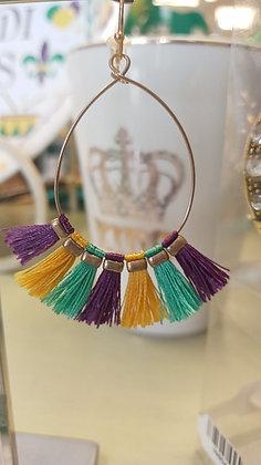 Mardi Gras Purple, Green and Gold Hoop Earrings