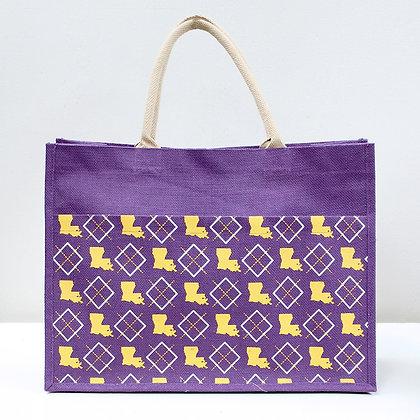 LA Jute Tote Bage - purple/yellow 19x14x7.5